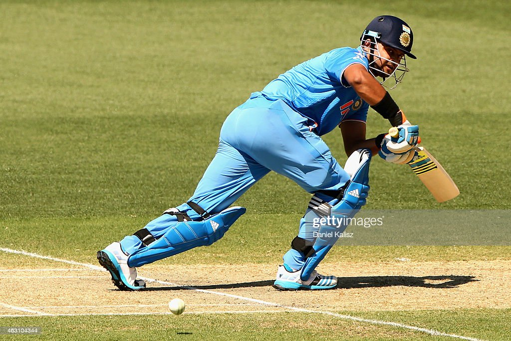 of India bats during the 2015 ICC Cricket World Cup warm up match ...