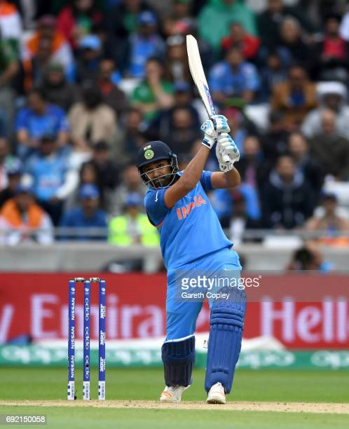 Rohit Sharma of India bats during the ICC Champions Trophy match between India and Pakistan at Edgbaston on June 4 2017 in Birmingham England