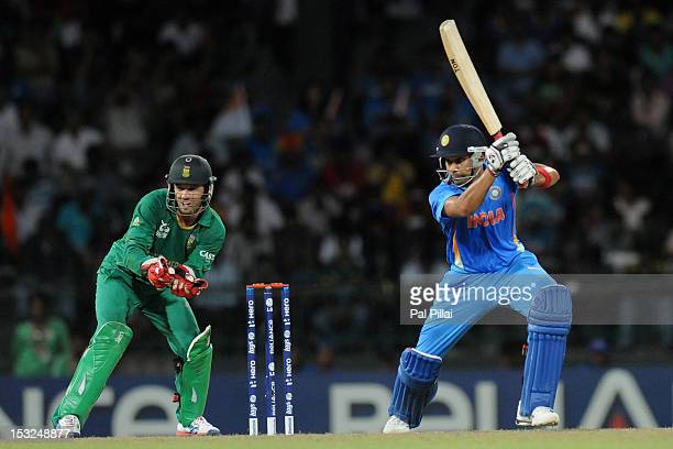 Rohit Sharma of India bats during the ICC World Twenty20 2012 Super Eights Group 2 match between South Africa and India at R Premadasa Stadium on...