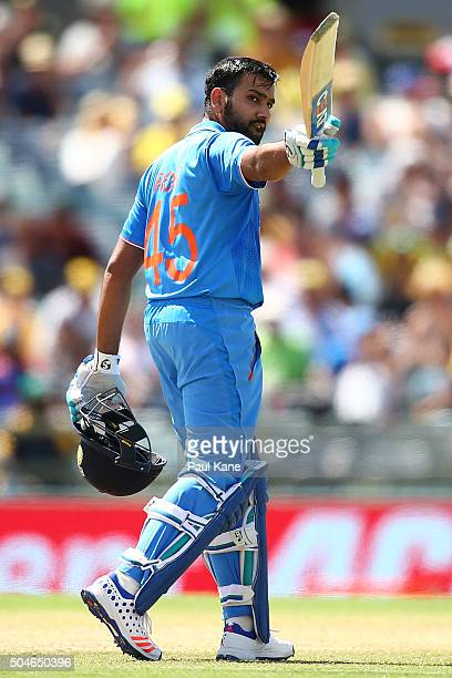 Rohit Sharma of India celebrates his 150 during the Victoria Bitter One Day International Series match between Australia and India at WACA on January...