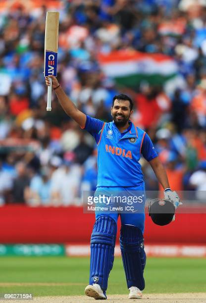 Rohit Sharma of India celebrates his century during the ICC Champions Trophy Semi Final match between Bangladesh and India at Edgbaston on June 15...