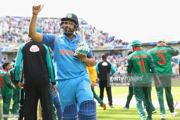 Rohit Sharma of India celebrates his match winning performance of 123 not out and his sides 9 wicket victory during the ICC Champions Trophy...