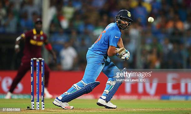 Rohit Sharma of India edges the ball towards thebounadry during the ICC World Twenty20 India 2016 SemiFinal match between West Indies and India at...