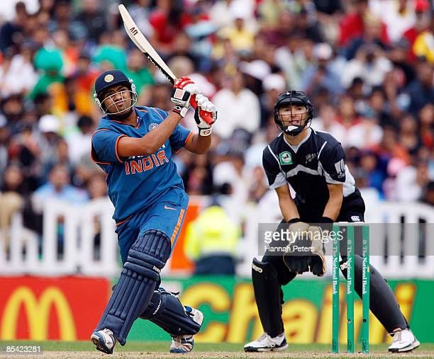 Rohit Sharma of India hits a four during the fifth one day international match between the New Zealand Black Caps and India at Eden Park on March 14...