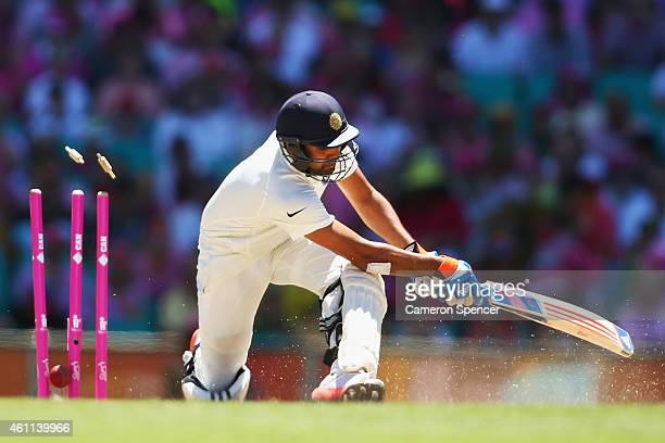 Rohit Sharma of India is bowled by Nathan Lyon of Australia during day three of the Fourth Test match between Australia and India at Sydney Cricket...