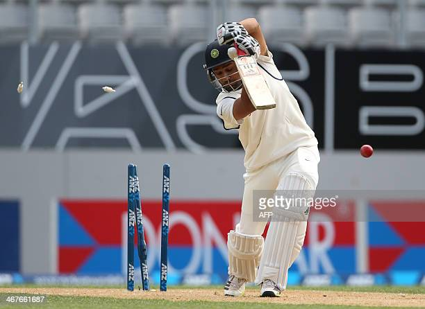 Rohit Sharma of India is bowled by New Zealand's Trent Boult during day two of the international cricket Test match between New Zealand and India...