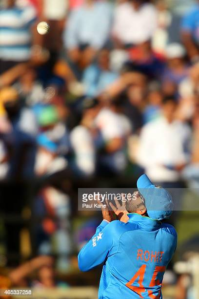 Rohit Sharma of India sets for a catch during the 2015 ICC Cricket World Cup match between India and the West Indies at WACA on March 6 2015 in Perth...