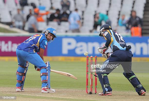 Rohit Sharma of the Mumbai Indians bowled during the Karbonn Smart CLT20 match between Mumbai Indians and Yorkshire at Sahara Park Newlands on...
