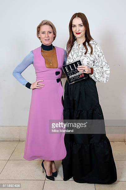 Roisin Murphy and Roksanda Ilincic winner of the British Designer of the Year award pose in the winners room at The Elle Style Awards 2016 on...