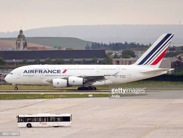 Roissy Charles de Gaulle Airport airbus plane belonging to the French airline Air France on the tarmac