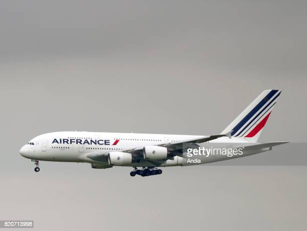 Roissy Charles de Gaulle Airport airbus plane belonging to the French airline Air France in flight