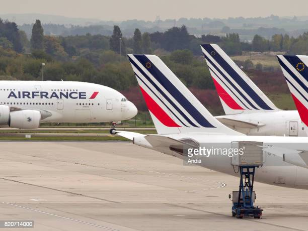Roissy Charles de Gaulle Airport airbus planes belonging to the French airline Air France on the tarmac