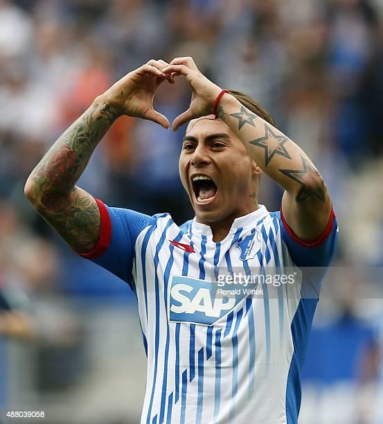 Rojas Vargas of Hoffenheim celebrates after scoring his team's first goal during the Bundesliga match between 1899 Hoffenheim and SV Werder Bremen at...
