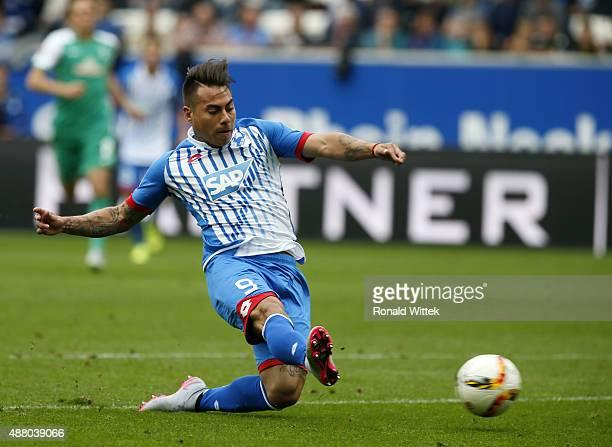 Rojas Vargas of Hoffenheim scores his team's first goal during the Bundesliga match between 1899 Hoffenheim and SV Werder Bremen at Wirsol...