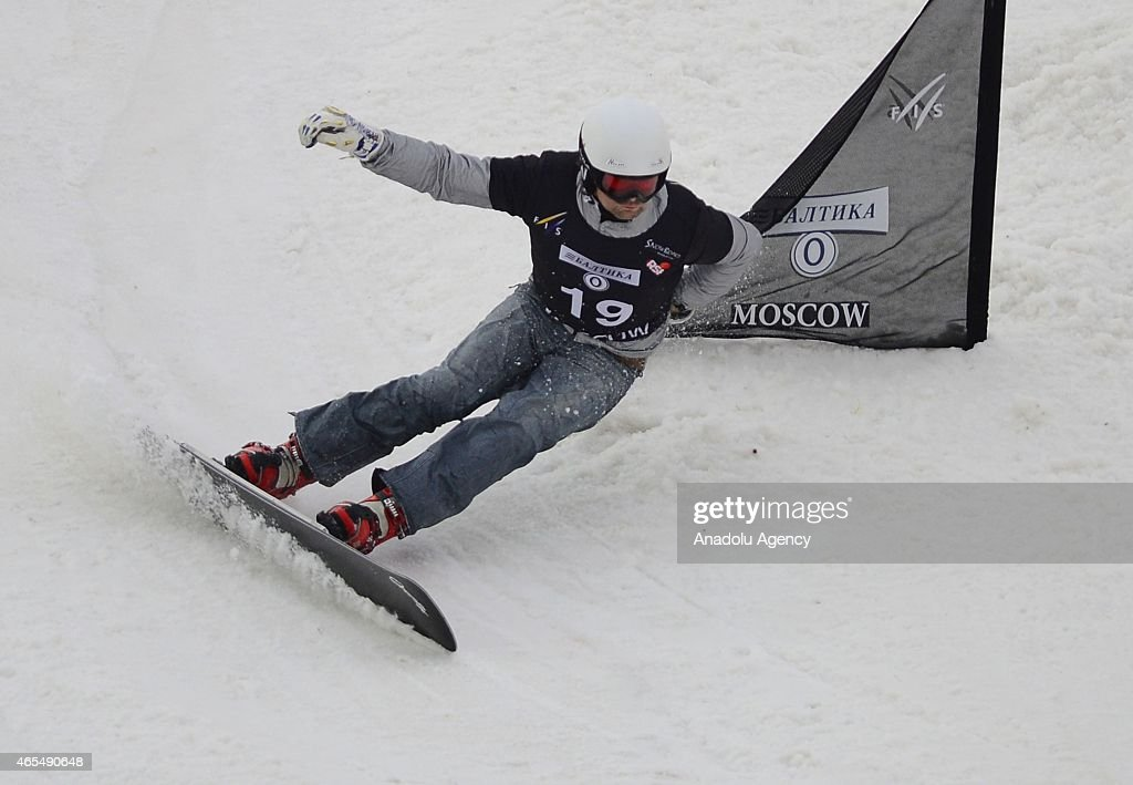 <a gi-track='captionPersonalityLinkClicked' href=/galleries/search?phrase=Rok+Flander&family=editorial&specificpeople=869981 ng-click='$event.stopPropagation()'>Rok Flander</a> of Slovenia competes in the Men's Parallel Slalom qualification round during the Snowboard World Cup event in Moscow, Russia on March 7, 2015.