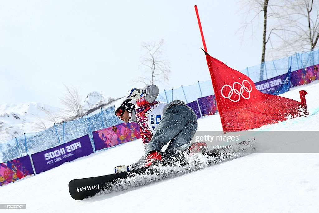 <a gi-track='captionPersonalityLinkClicked' href=/galleries/search?phrase=Rok+Flander&family=editorial&specificpeople=869981 ng-click='$event.stopPropagation()'>Rok Flander</a> of Slovenia competes in the Snowboard Men's Parallel Giant Slalom Qualification on day twelve of the 2014 Winter Olympics at Rosa Khutor Extreme Park on February 19, 2014 in Sochi, Russia.