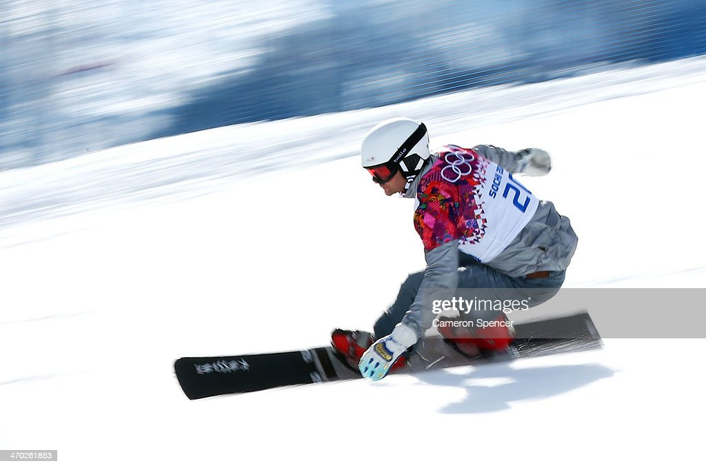 <a gi-track='captionPersonalityLinkClicked' href=/galleries/search?phrase=Rok+Flander&family=editorial&specificpeople=869981 ng-click='$event.stopPropagation()'>Rok Flander</a> of Slovenia competes in the Snowboard Men's Parallel Giant Slalom Quarterfinals on day twelve of the 2014 Winter Olympics at Rosa Khutor Extreme Park on February 19, 2014 in Sochi, Russia.