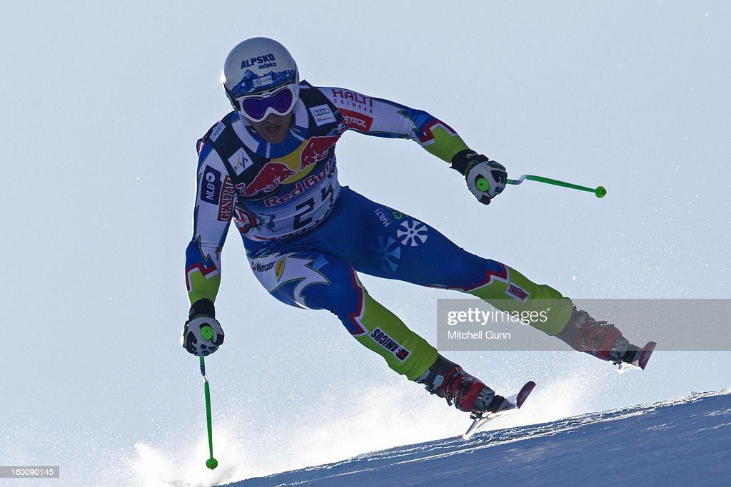 Rok Perko of Slovenia races down the Hahnenkamm course during the Audi FIS Alpine Ski World Cup Downhill on January 26, 2013 in Kitzbuhel, Austria,
