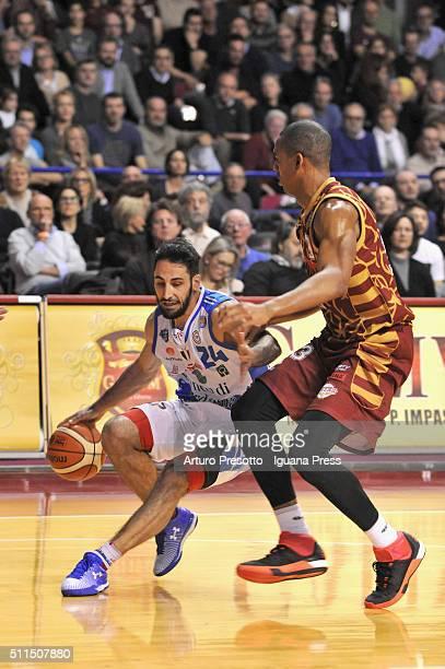 Rok Stipcevic of Banco di Sardegna competes with Josh Owens of Umana during the LegaBsaket Serie A match between Reyer Umana Venezia and Banco di...