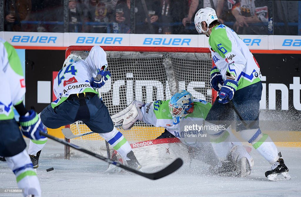 Rok Ticar, Luka Gracnar and Blaz Gregorc of Team Slovenia during the game between Germany and Slovenia on april 29, 2015 in Berlin, Germany.
