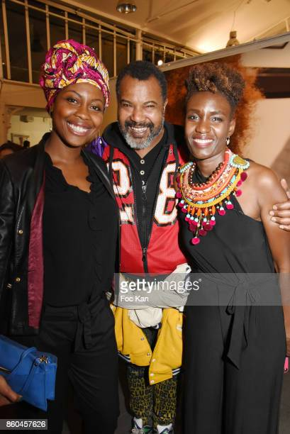 Rokhaya Diallo fashion designer Lamine Badian Kouyate from Xuly Bet and tV presenter Ele Asu from Canal attend the 'Afro' Rokhaya Diallo and...