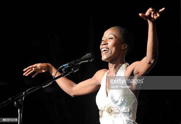 Rokia Traore of Mali performs on the main stage at the WOMAD music festival on July 24 2009 in Wiltshire England World of Music Arts and Dance is an...