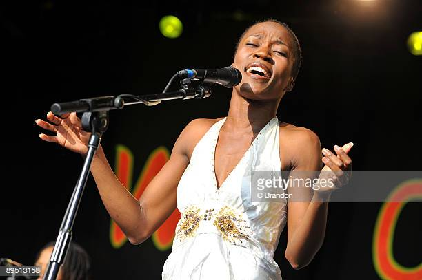 Rokia Traore performs on stage on the first day of the Womad Festival at Charlton Park on July 24 2009 in Wiltshire England