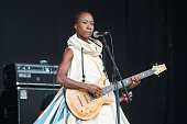 Rokia Traore wearing a dress designed by London College of Fashion called 'Dress For Our Time' a decommissioned UNHCR tent that has sheltered Syrian...