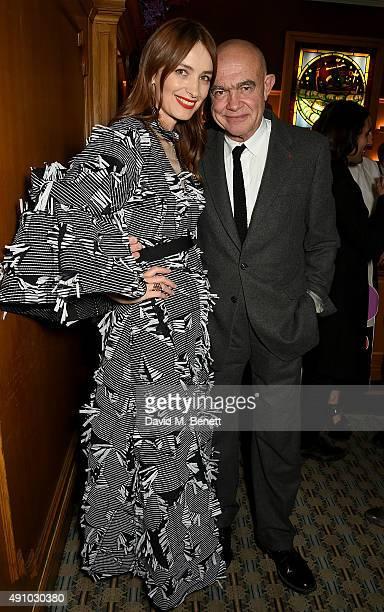Roksanda Ilincic and Christian Lacroix attend the Roksanda Ten Year Anniversary Dinner at Caviar Kaspia on October 2 2015 in Paris France