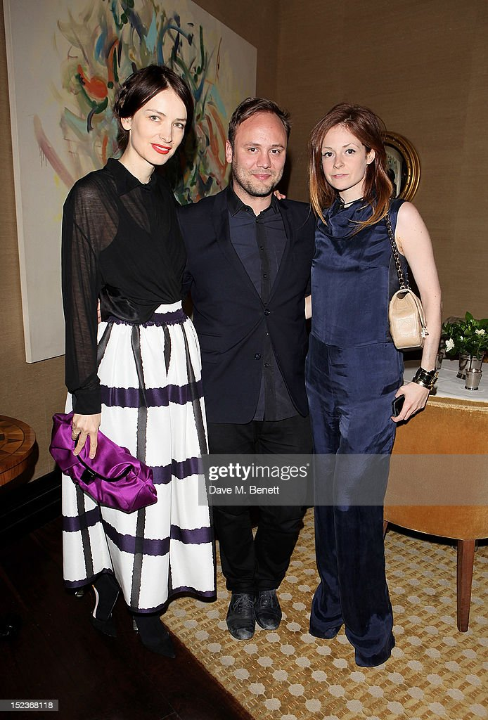 Roksanda Ilincic, Nicholas Kirkwood and guest attend a cocktail party hosted by new Editor-in-Chief of Harper's Bazaar UK Justine Picardie, Manolo Blahnik and Penelope Tree to celebrate the life of noted columnist and fashion editor Diana Vreeland, following the UK premiere of Diana Vreeland: The Eye Has To Travel, at The Connaught Hotel on September 19, 2012 in London, England.