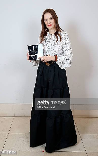 Roksanda Ilincic winner of the British Designer of the Year award poses in the winners room at The Elle Style Awards 2016 on February 23 2016 in...