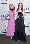 Roksanda poses with her award for British Designer of The Year with Róisín Murphy in the winners room at The Elle Style Awards 2016 on February 23...