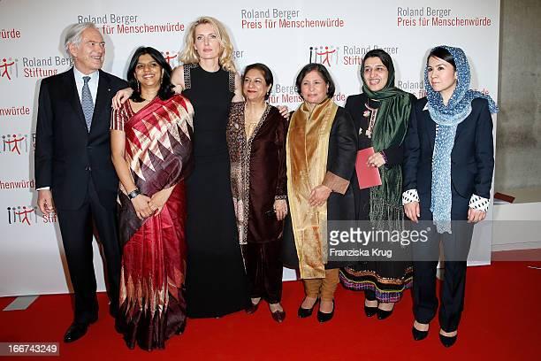 Roland Berger Kalpana Viswanath Maria Furtwaengler Asma Jahangir Suneeta Dhar Hasina Safi and Leeda Yacoobi attend the 'Roland Berger Human Dignity...