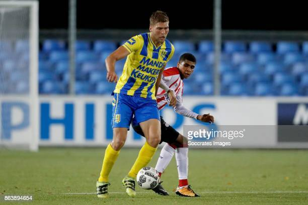 Roland Bergkamp of RKC Waalwijk Laros Duarte of PSV U23 during the Dutch Jupiler League match between PSV U23 v RKC Waalwijk at the de Herdgang on...