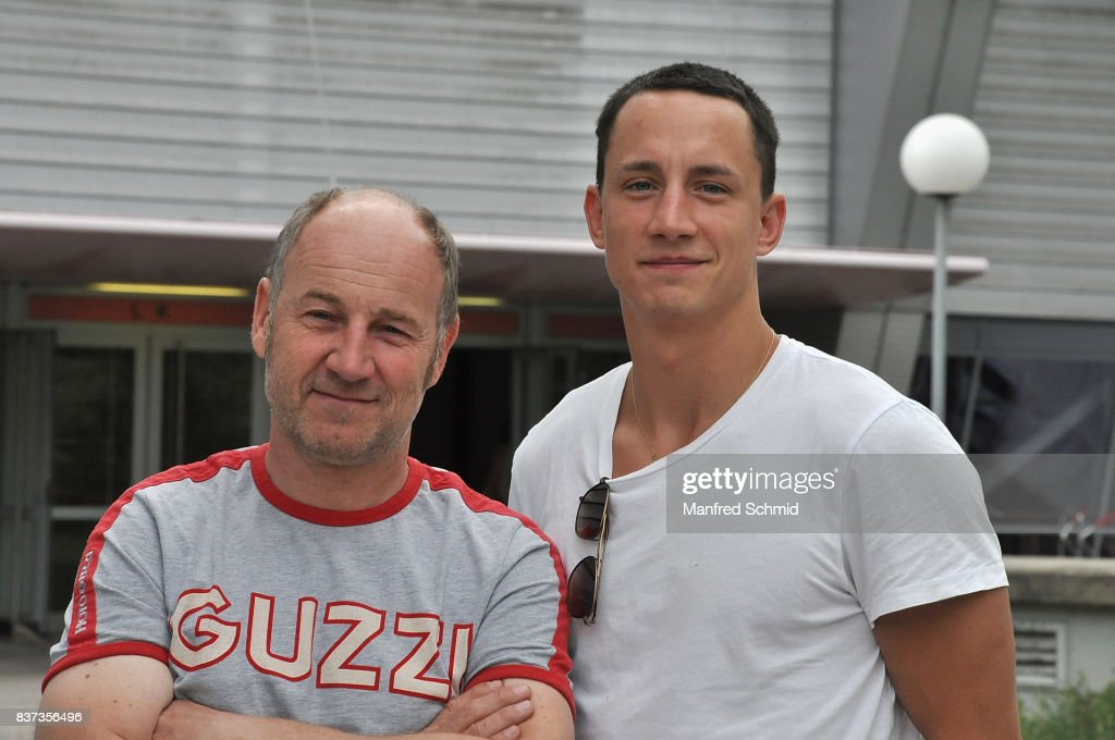 Roland Dueringer (L) and Laurence Rupp pose during a set visit for 'Cops' at Dusika Stadion on August 22, 2017 in Vienna, Austria.
