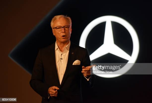 Roland Folger Managing Director and CEO of India Operations speaks at a press conference for the launch of Mercedes AMG GLC 43 4MATIC Coupe on July...