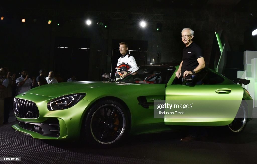 Roland Folger, MD & CEO, Mercedes-Benz India (R), and AMG Driver Christian Hohenadel (L) at the launch of AMG GT R on August 21, 2017 in New Delhi, India.