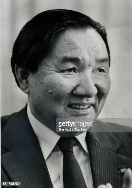 Roland founder Ikutaro Kakehashi speaks during the Asahi Shimbun interview at their Tokyo office on October 19 1985 in Tokyo Japan