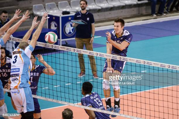 Roland Gergye of Paris during the volleyball Ligue A match between Paris Volley and Nantes Reze at Salle Pierre Charpy on February 23 2017 in Paris...