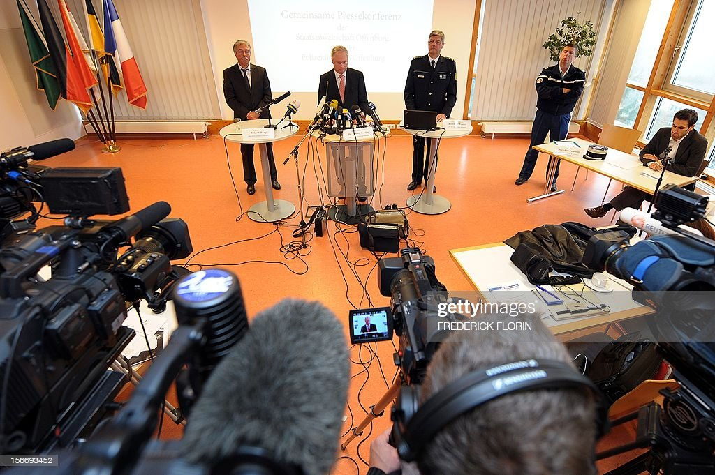 Roland Haug, leader of Offenburg's criminal police, Herwig Schafer, head of the Public Prosecutor's Department in Offenburg, and Reinhard Renter, leader of the police department in Offenburg deliver a press conference in Offenburg, southern Germany, on November 19, 2012, to comment on a case in which a kidnapped French girl was found alive in a car boot in Germany. Chloe Rodriguez, whose disappearance from her home in southern France sparked a nationwide hunt, was found on November 16, 2012 in the boot of a car in Oppenau near Offenburg. The driver of the car has been held by police on suspicion of kidnap.