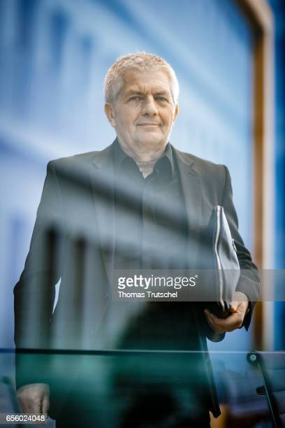 Roland Jahn who is Federal Commisisoner of the BStU the federal archive of the Stasi the former East German secret police speaks to the media at...