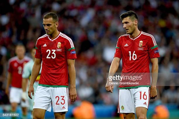 Roland Juhasz and Adam Pinter of Hungary react during the UEFA EURO 2016 round of 16 match between Hungary and Belgium at Stadium Municipal on June...