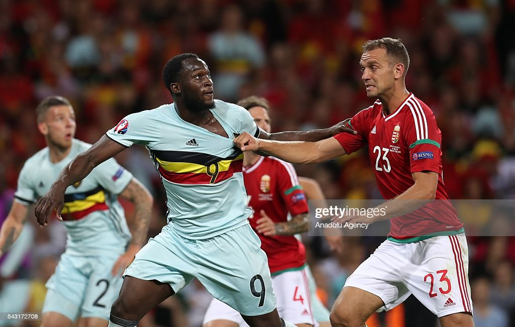 Roland Juhasz (23) of Hungary in action against Romelu Lukaku (9) of Belgium during the UEFA Euro 2016 round of 16 football match between Hungary and Belgium at Stadium Municipal in Toulouse, France on June 26, 2016.