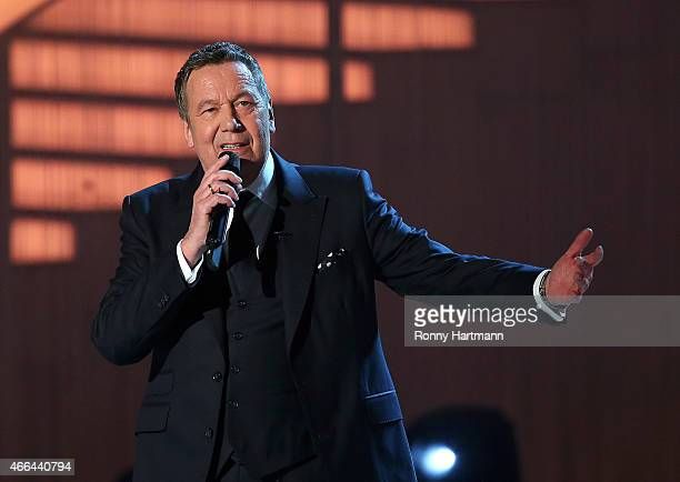 Roland Kaiser performs during the 'Die Besten im Fruehling' TV show at GETEC Arena on March 14 2015 in Magdeburg Germany