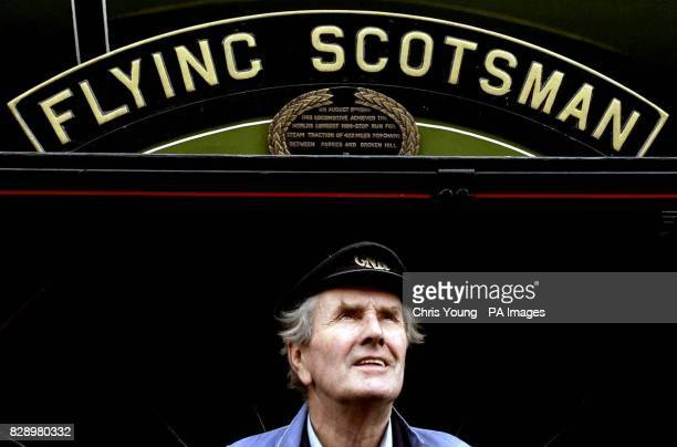 Roland Kennington Chief Engineer on the Flying Scotsman for eighteen years of service stands alongside one of the world's most famous locomotives...