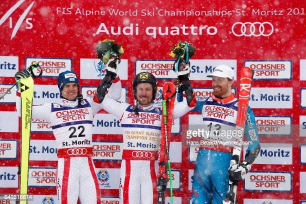 Roland Leitinger of Austria wins the silver medal Marcel Hirscher of Austria wins the gold medal Leif Kristian Haugen of Norway wins the bronze medal...