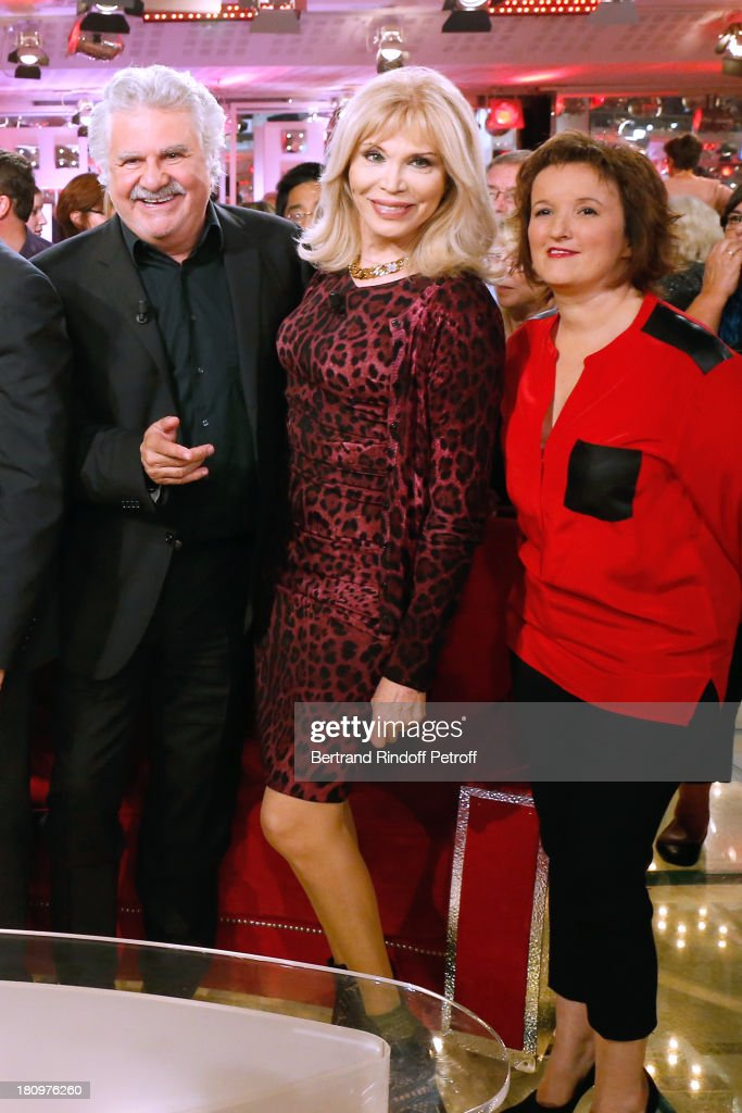 Roland Magdane, Amanda Lear and Anne Roumanoff attend 'Vivement Dimanche' French TV Show at Pavillon Gabriel on September 18, 2013 in Paris, France.