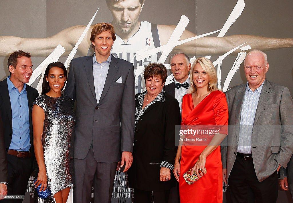 Roland Mayer, Jessica Nowitzki, Dirk Nowitzki, Helga Nowitzki, Holger Geschwindner, Silke Nowitzki and Joerg-Werner Nowitzki attend the premiere of the film 'Nowitzki. Der Perfekte Wurf' at Cinedom on September 16, 2014 in Cologne, Germany.