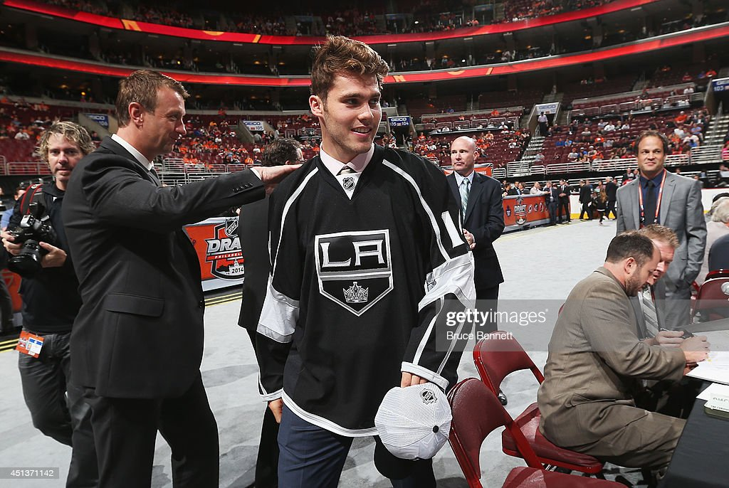 Roland McKeown meets his team after being selected #50 by the Los Angeles Kings on Day Two of the 2014 NHL Draft at the Wells Fargo Center on June 28, 2014 in Philadelphia, Pennsylvania.