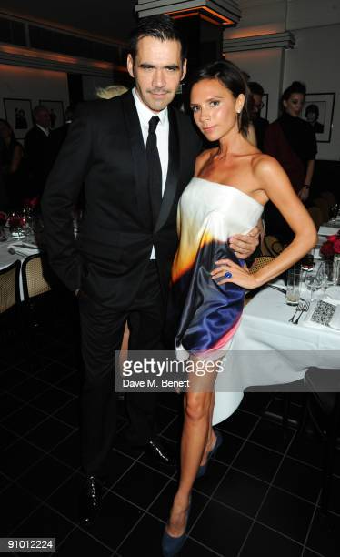 Roland Mouret and Victoria Beckham attend the private dinner hosted by editor of British Vogue Alexandra Shulman in association with NetAPortercom in...